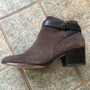 Coach dark brown booties, 7.5